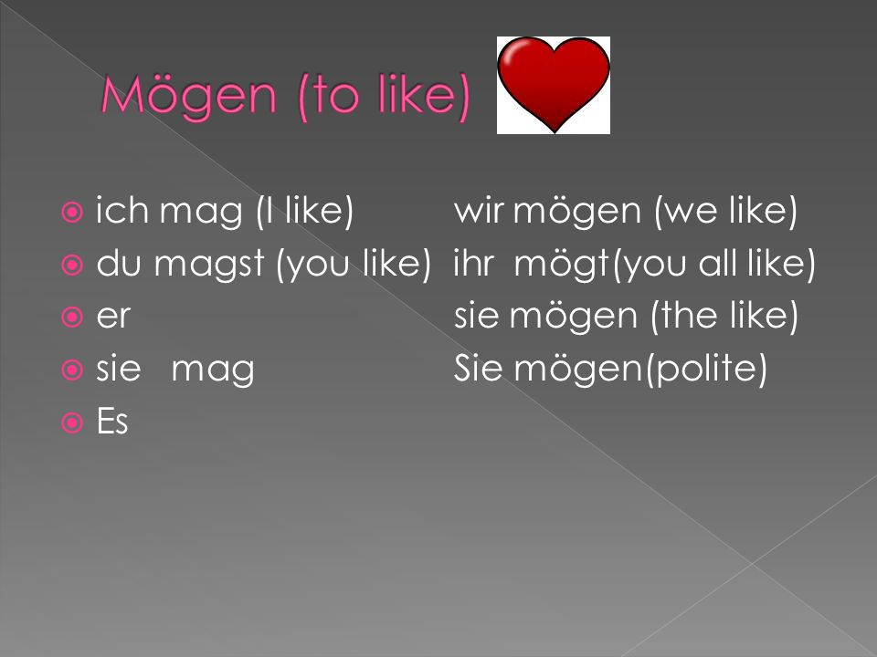 ich mag (I like) wir mögen (we like) du magst (you like) ihr mögt(you all like) er sie mögen (the like) sie mag Sie mögen(polite) Es