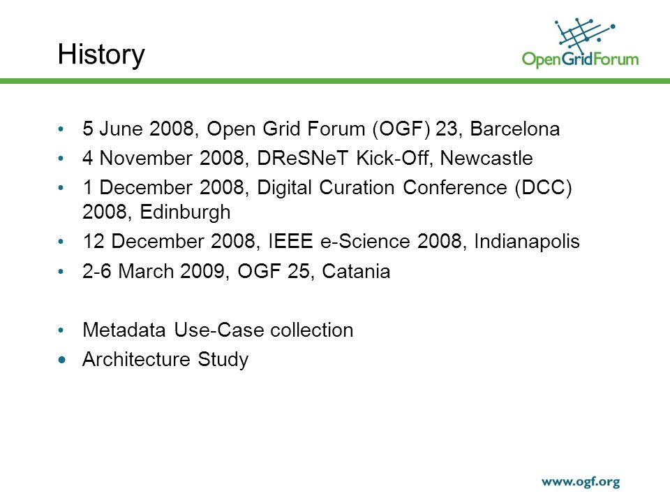 History 5 June 2008, Open Grid Forum (OGF) 23, Barcelona 4 November 2008, DReSNeT Kick-Off, Newcastle 1 December 2008, Digital Curation Conference (DCC) 2008, Edinburgh 12 December 2008, IEEE e-Science 2008, Indianapolis 2-6 March 2009, OGF 25, Catania Metadata Use-Case collection Architecture Study