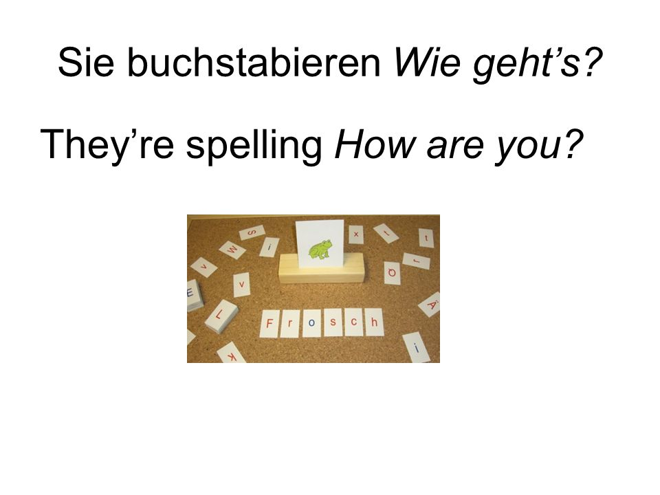 Sie buchstabieren Wie gehts Theyre spelling How are you