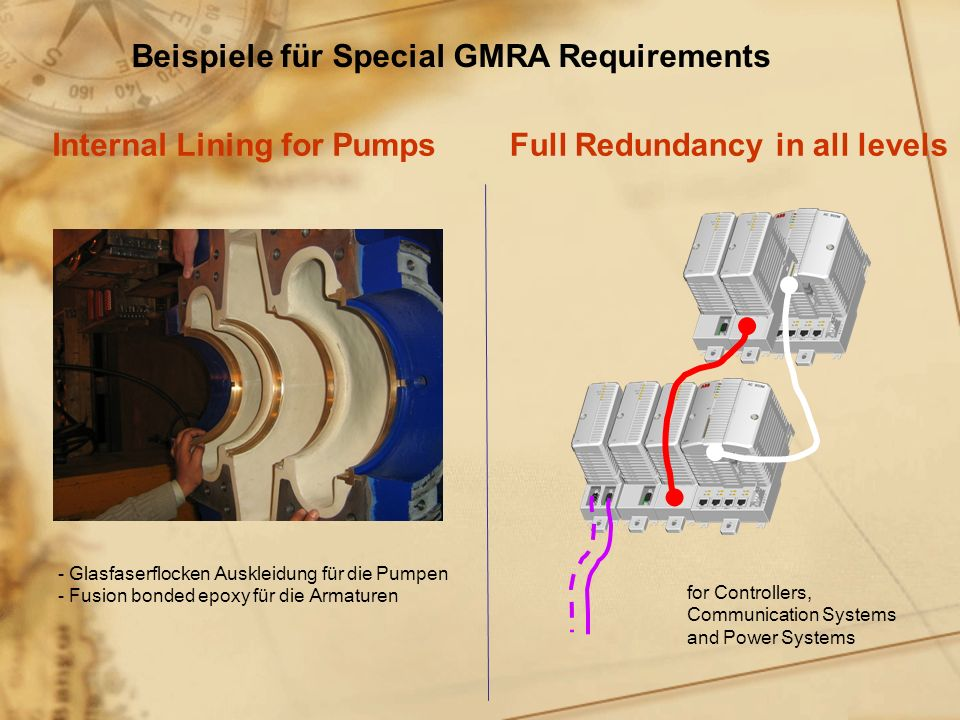 Full Redundancy in all levelsInternal Lining for Pumps Beispiele für Special GMRA Requirements - Glasfaserflocken Auskleidung f ü r die Pumpen - Fusion bonded epoxy f ü r die Armaturen for Controllers, Communication Systems and Power Systems
