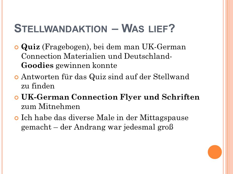 S TELLWANDAKTION – W AS LIEF .