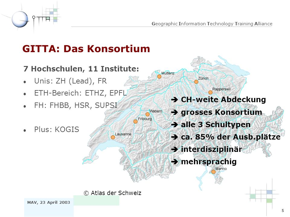 5 MAV, 23 April 2003 Geographic Information Technology Training Alliance GITTA: Das Konsortium © Atlas der Schweiz CH-weite Abdeckung grosses Konsortium ca.