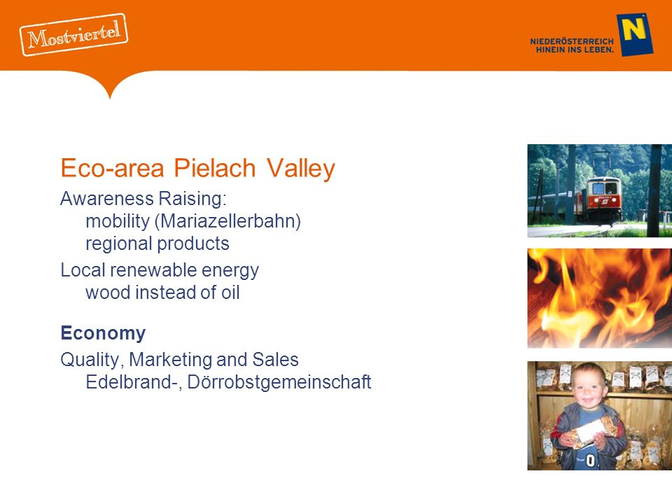 Eco-area Pielach Valley Awareness Raising: mobility (Mariazellerbahn) regional products Local renewable energy wood instead of oil Economy Quality, Marketing and Sales Edelbrand-, Dörrobstgemeinschaft