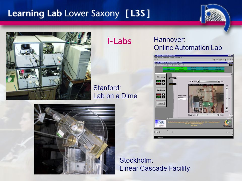 I-Labs Hannover: Online Automation Lab Stanford: Lab on a Dime Stockholm: Linear Cascade Facility