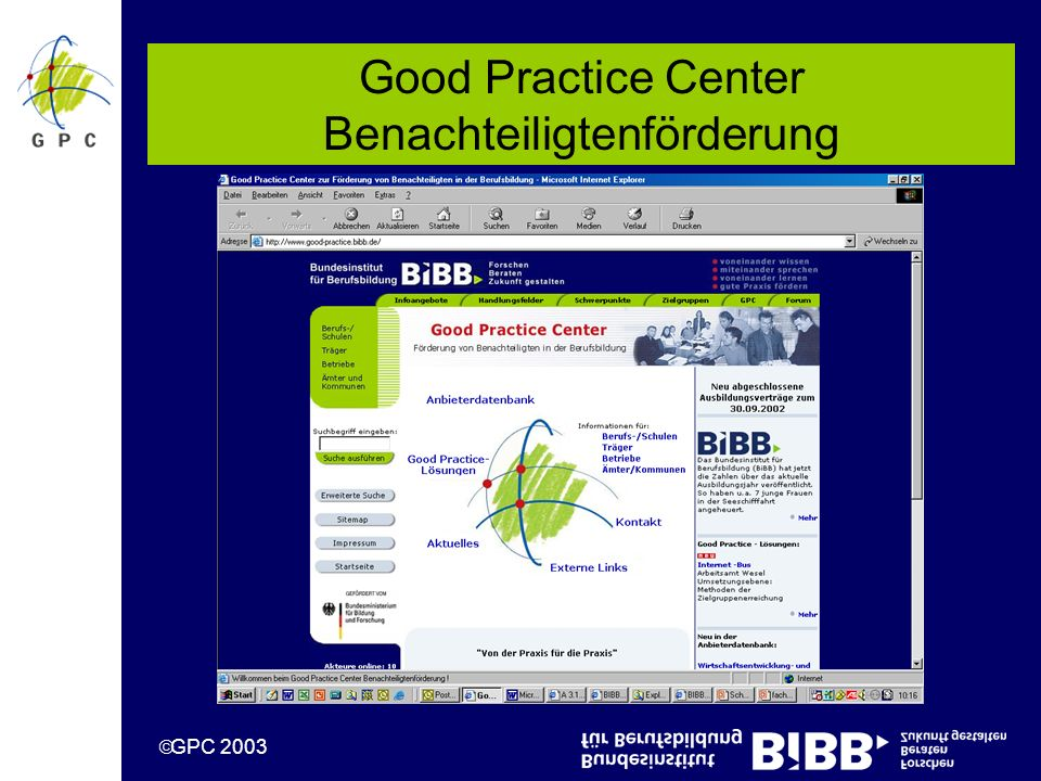 GPC 2003 Good Practice Center Benachteiligtenförderung