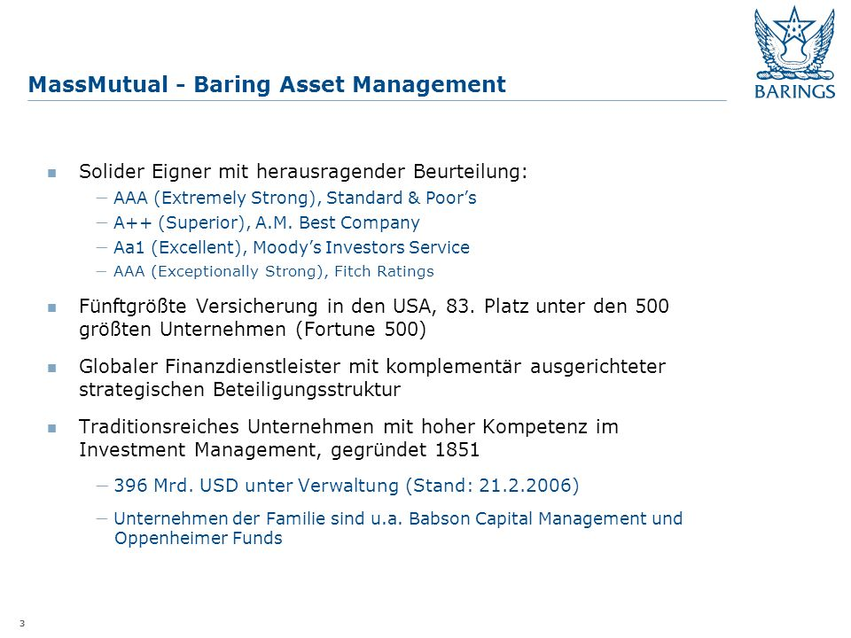 3 MassMutual - Baring Asset Management Solider Eigner mit herausragender Beurteilung: AAA (Extremely Strong), Standard & Poors A++ (Superior), A.M.