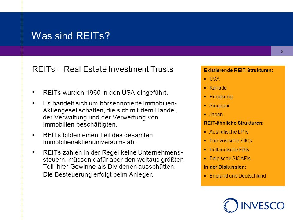 9 Was sind REITs. REITs = Real Estate Investment Trusts REITs wurden 1960 in den USA eingeführt.