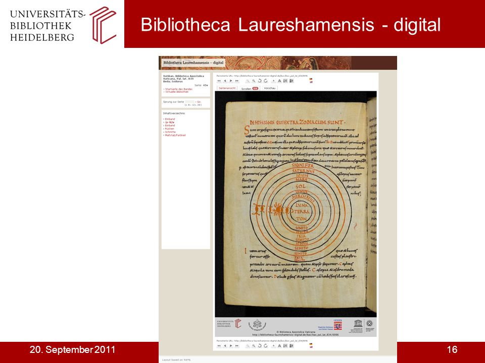 Dr. Karin Zimmermann UB Heidelberg1620. September 2011 Bibliotheca Laureshamensis - digital