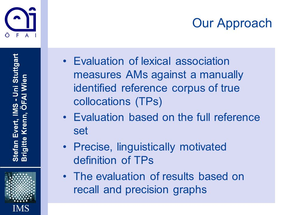 Stefan Evert, IMS - Uni Stuttgart Brigitte Krenn, ÖFAI Wien IMS Our Approach Evaluation of lexical association measures AMs against a manually identified reference corpus of true collocations (TPs) Evaluation based on the full reference set Precise, linguistically motivated definition of TPs The evaluation of results based on recall and precision graphs