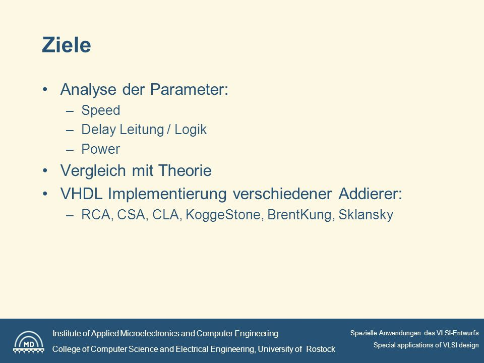 Institute of Applied Microelectronics and Computer Engineering College of Computer Science and Electrical Engineering, University of Rostock Spezielle Anwendungen des VLSI-Entwurfs Special applications of VLSI design Ziele Analyse der Parameter: –Speed –Delay Leitung / Logik –Power Vergleich mit Theorie VHDL Implementierung verschiedener Addierer: –RCA, CSA, CLA, KoggeStone, BrentKung, Sklansky