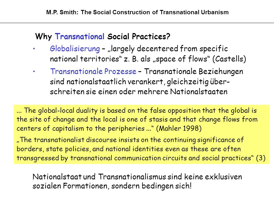 Why Transnational Social Practices.