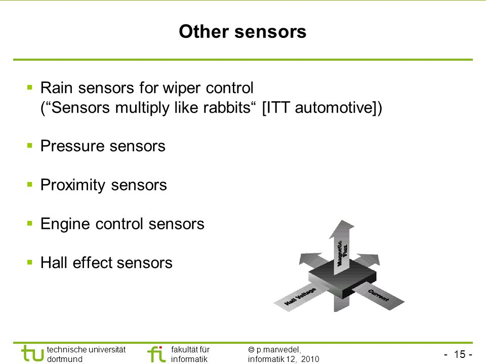 technische universität dortmund fakultät für informatik p.marwedel, informatik 12, 2010 TU Dortmund Other sensors Rain sensors for wiper control (Sensors multiply like rabbits [ITT automotive]) Pressure sensors Proximity sensors Engine control sensors Hall effect sensors