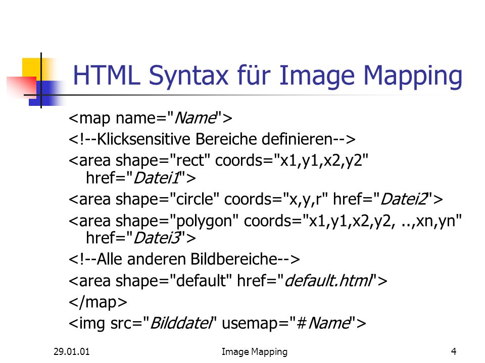 Image Mapping4 HTML Syntax für Image Mapping