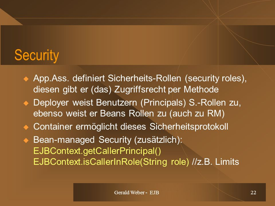 Gerald Weber - EJB 22 Security App.Ass.