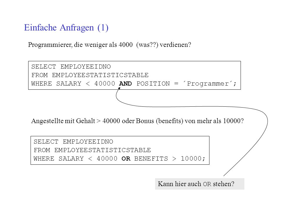 Einfache Anfragen (1) SELECT EMPLOYEEIDNO FROM EMPLOYEESTATISTICSTABLE WHERE SALARY < AND POSITION = ´Programmer´; Programmierer, die weniger als 4000 (was ) verdienen.