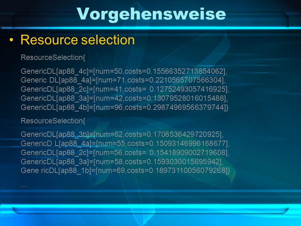 Vorgehensweise Resource selection ResourceSelection{ GenericDL[ap88_4c]=[num=50,costs= ], Generic DL[ap88_4a]=[num=71,costs= ], GenericDL[ap88_2c]=[num=41,costs= ], GenericDL[ap88_3a]=[num=42,costs= ], GenericDL[ap88_4b]=[num=96,costs= ]} ResourceSelection{ GenericDL[ap88_3b]=[num=62,costs= ], GenericD L[ap88_4a]=[num=55,costs= ], GenericDL[ap88_2c]=[num=56,costs= ], GenericDL[ap88_3a]=[num=58,costs= ], Gene ricDL[ap88_1b]=[num=69,costs= ]}...