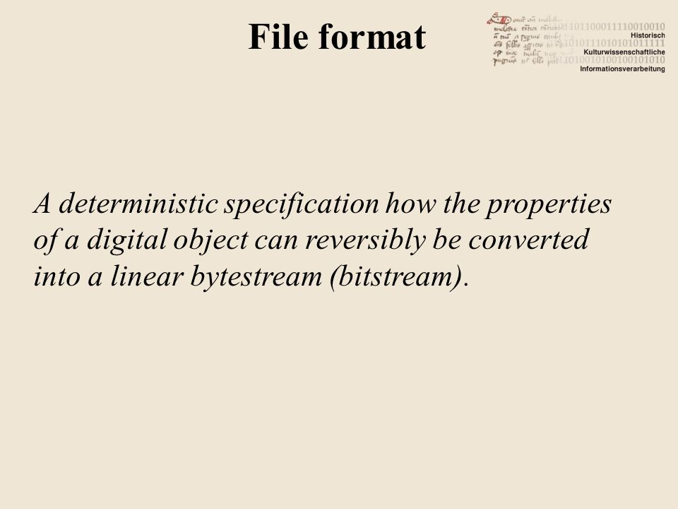 A deterministic specification how the properties of a digital object can reversibly be converted into a linear bytestream (bitstream).
