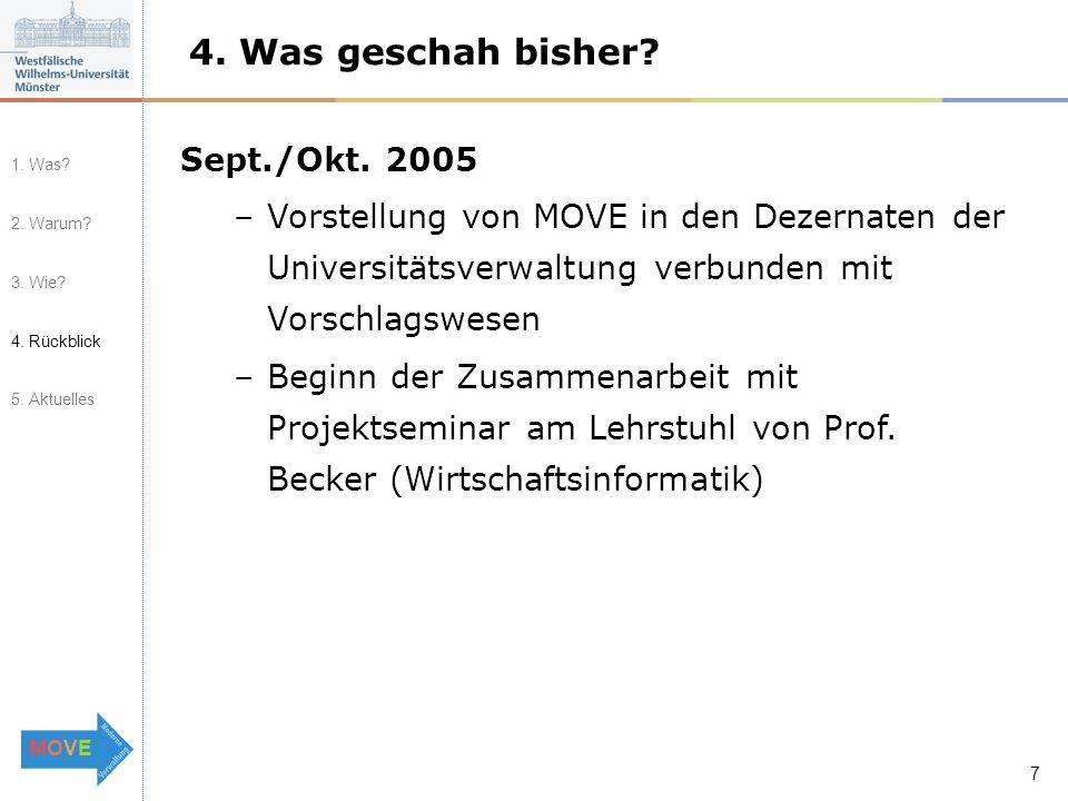 MOVEMOVE 7 4. Was geschah bisher. Sept./Okt.