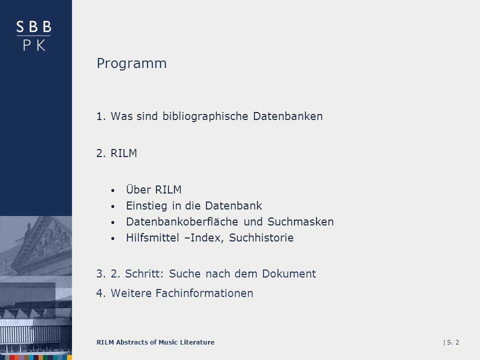 |RILM Abstracts of Music LiteratureS. 2 Programm 1.