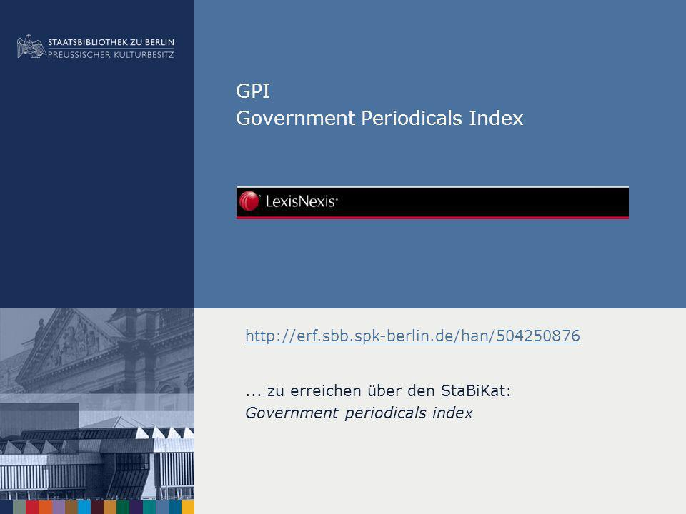 GPI Government Periodicals Index