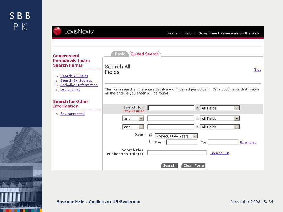 November 2008 |Susanne Maier: Quellen zur US-RegierungS GPI – Screenshot Guided Search