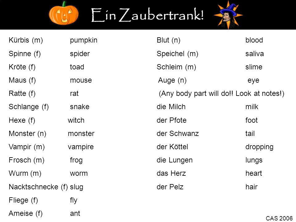 CAS 2006 Kürbis (m) pumpkinBlut (n)blood Spinne (f) spiderSpeichel (m)saliva Kröte (f) toadSchleim (m)slime Maus (f) mouse Auge (n) eye Ratte (f) rat (Any body part will do!.