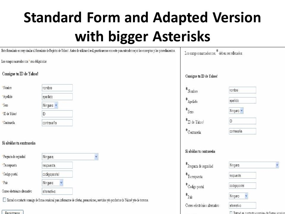 Standard Form and Adapted Version with bigger Asterisks