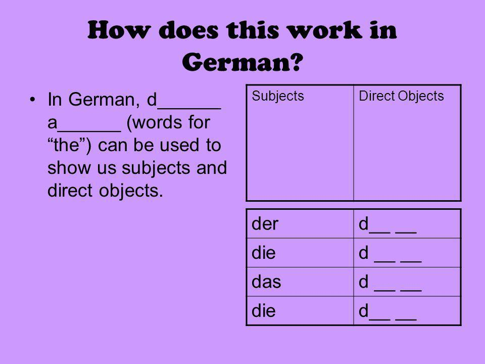 How does this work in German.
