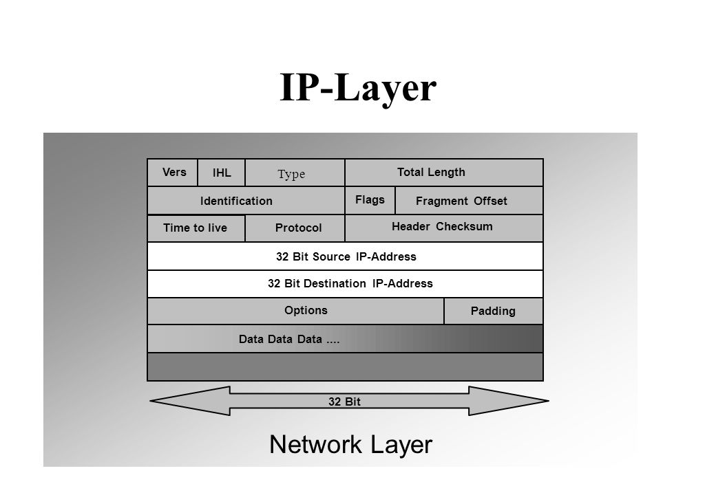IP-Layer Vers IHL 32 Bit Source IP-Address 32 Bit Destination IP-Address Total Length Identification Flags Fragment Offset Time to liveProtocol Header Checksum Options Padding Data Data Data....