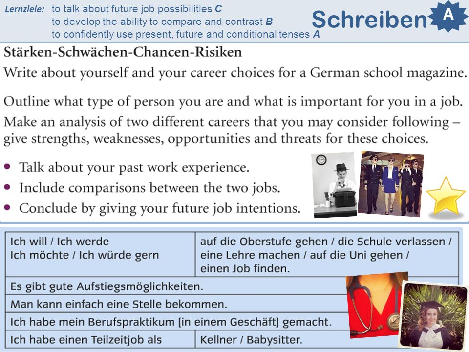 Lernziele: to talk about future job possibilities C to develop the ability to compare and contrast B to confidently use present, future and conditional tenses A Schreiben A