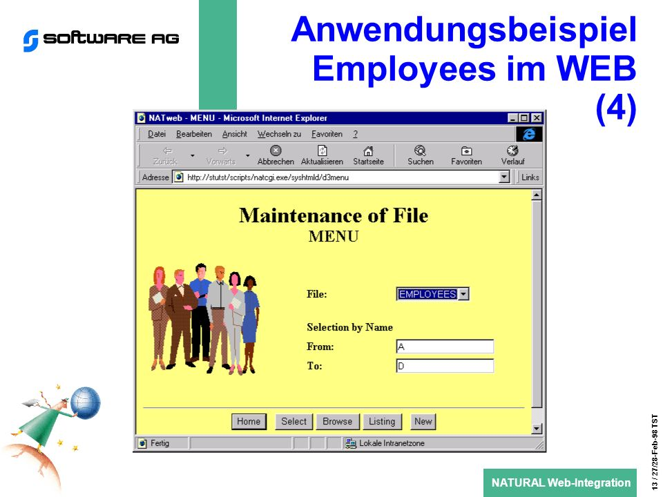 NATURAL Web-Integration 13 / 27/28-Feb-98 TST Anwendungsbeispiel Employees im WEB (4)