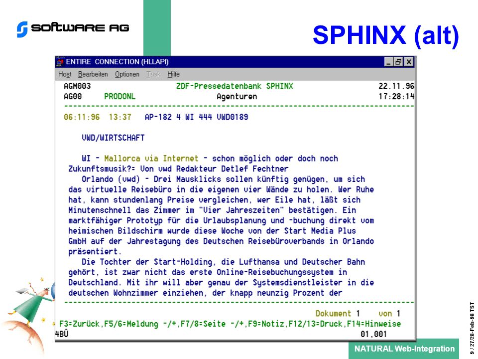 NATURAL Web-Integration 9 / 27/28-Feb-98 TST SPHINX (alt)