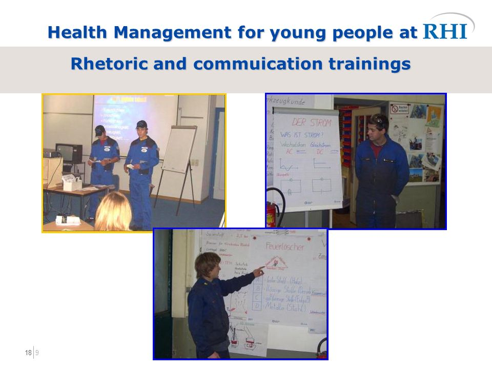 918 Rhetoric and commuication trainings Health Management for young people at