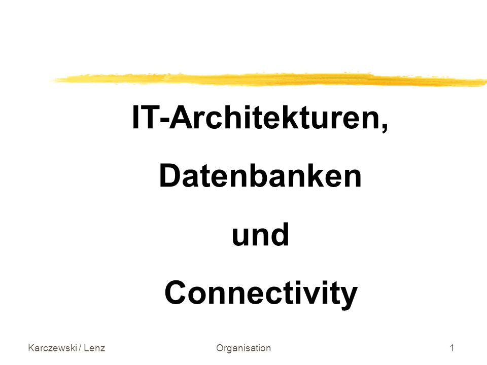 Karczewski / LenzOrganisation1 IT-Architekturen, Datenbanken und Connectivity