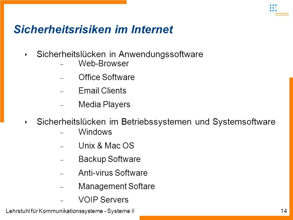 Lehrstuhl für Kommunikationssysteme - Systeme II14 Sicherheitsrisiken im Internet Sicherheitslücken in Anwendungssoftware Web-Browser Office Software  Clients Media Players Sicherheitslücken im Betriebssystemen und Systemsoftware Windows Unix & Mac OS Backup Software Anti-virus Software Management Softare VOIP Servers