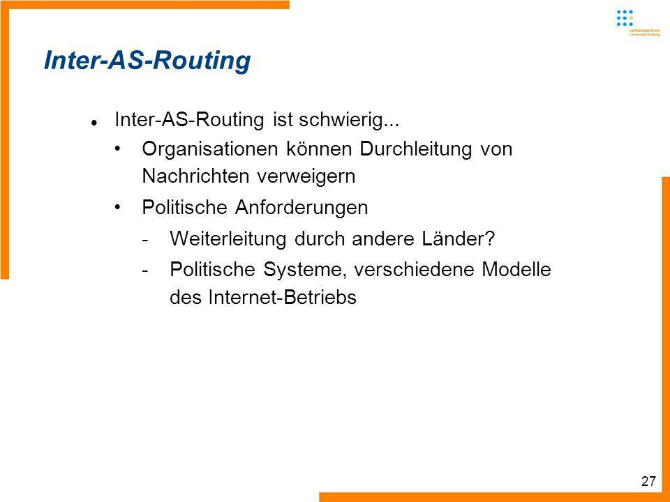 27 Inter-AS-Routing Inter-AS-Routing ist schwierig...