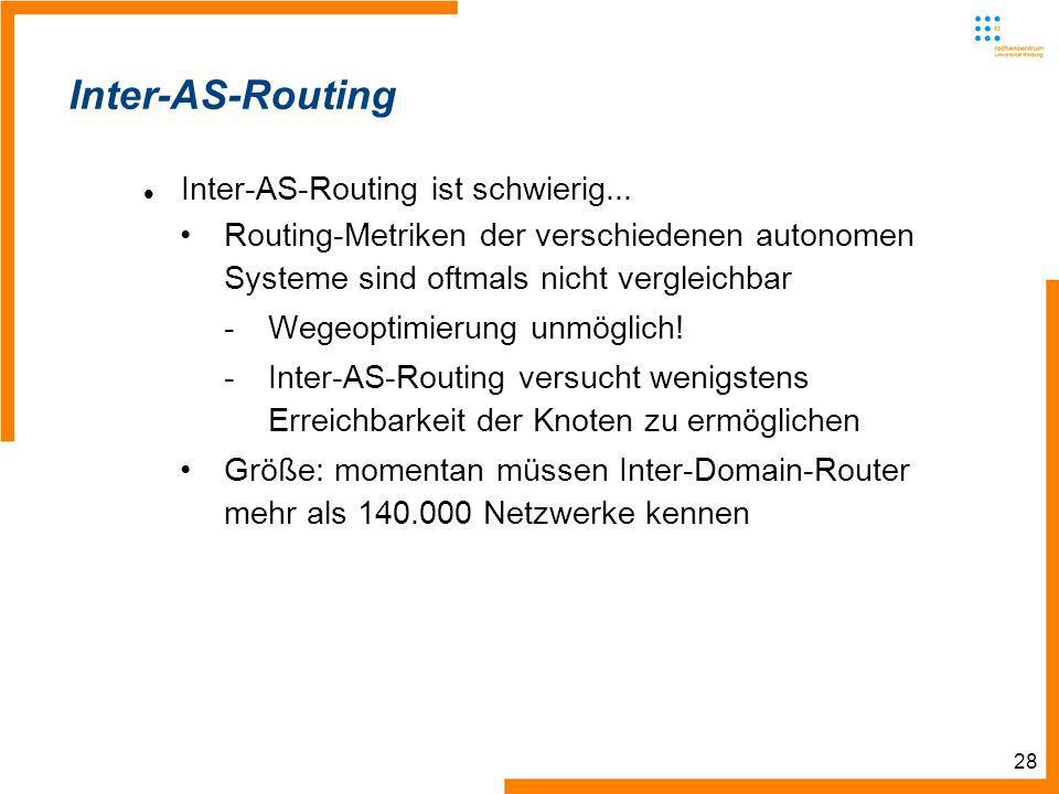 28 Inter-AS-Routing Inter-AS-Routing ist schwierig...