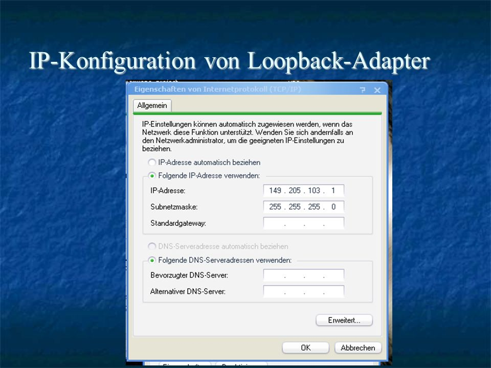 IP-Konfiguration von Loopback-Adapter