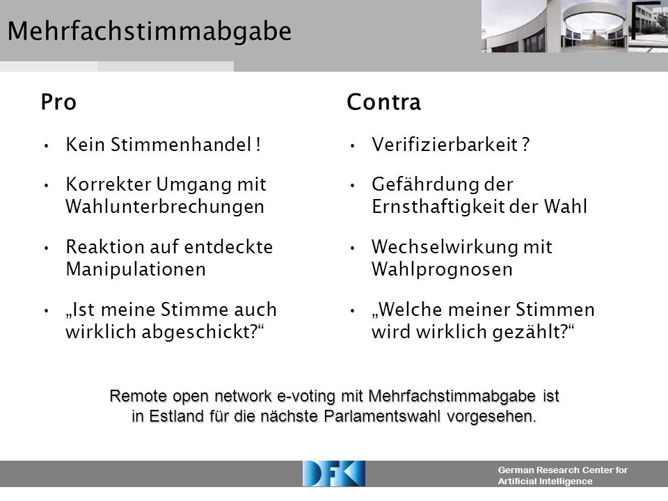 German Research Center for Artificial IntelligenceMehrfachstimmabgabe Pro Kein Stimmenhandel .
