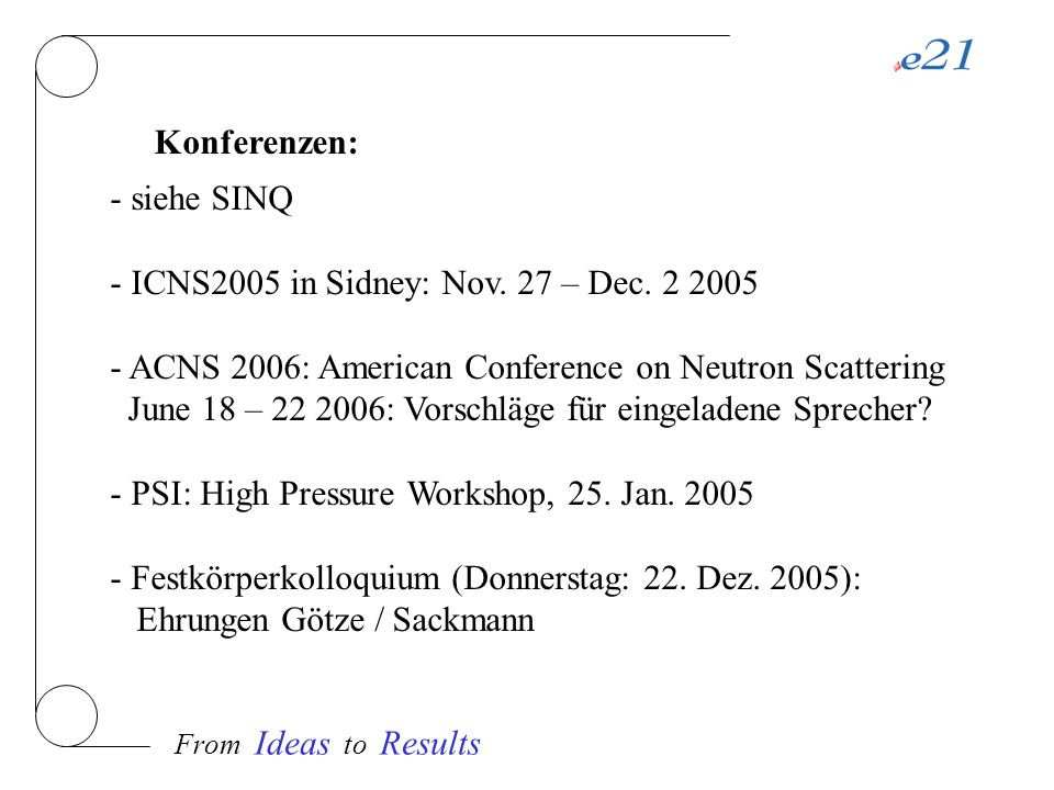 From Ideas to Results Konferenzen: - siehe SINQ - ICNS2005 in Sidney: Nov.