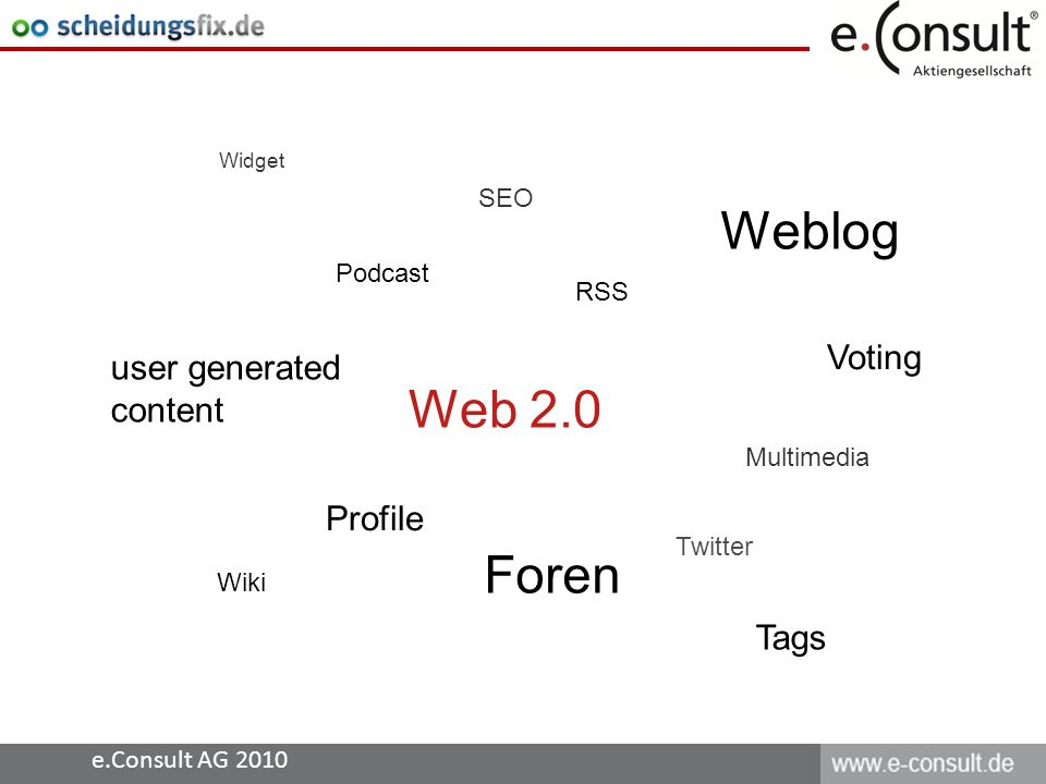 e.Consult AG 2010 Web 2.0 RSS Profile Foren Wiki Tags Podcast Voting user generated content Multimedia Weblog Twitter Widget SEO