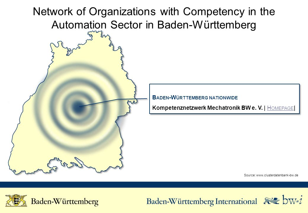 Network of Organizations with Competency in the Automation Sector in Baden-Württemberg B ADEN -W ÜRTTEMBERG NATIONWIDE Kompetenznetzwerk Mechatronik BW e.