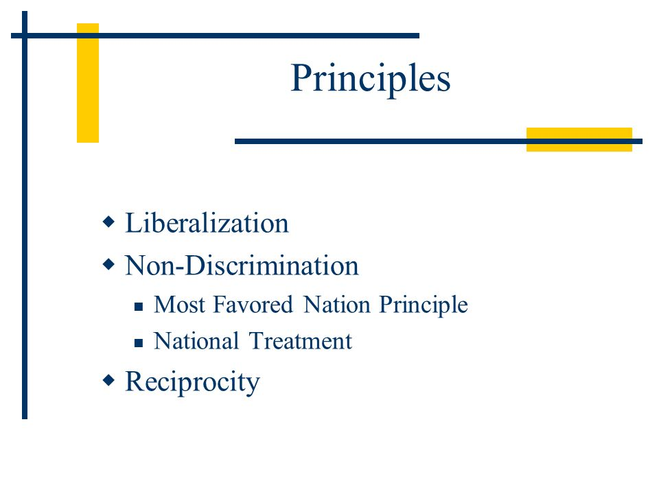 Principles Liberalization Non-Discrimination Most Favored Nation Principle National Treatment Reciprocity