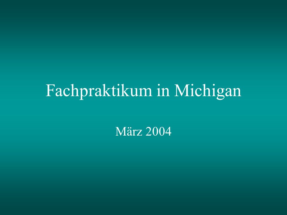 Fachpraktikum in Michigan März 2004