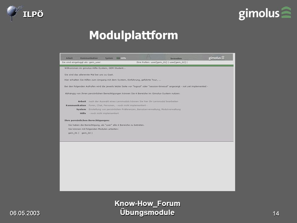 ILPÖ Know-How_Forum Übungsmodule 14 Modulplattform