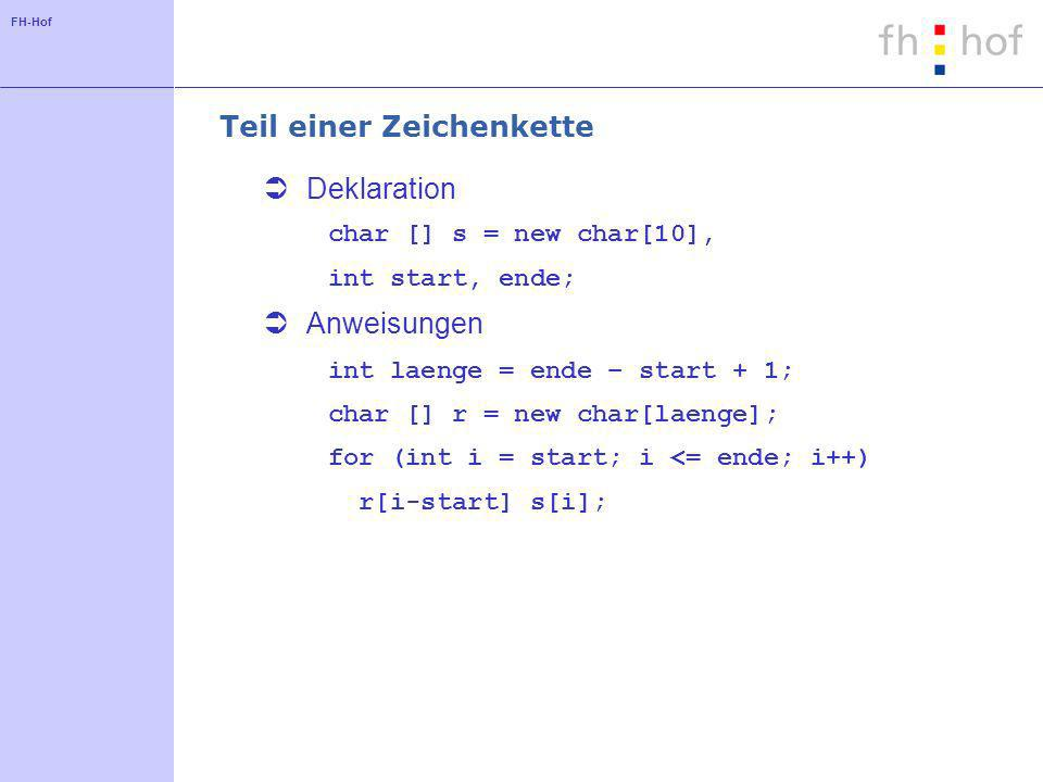 FH-Hof Teil einer Zeichenkette Deklaration char [] s = new char[10], int start, ende; Anweisungen int laenge = ende – start + 1; char [] r = new char[laenge]; for (int i = start; i <= ende; i++) r[i-start] s[i];