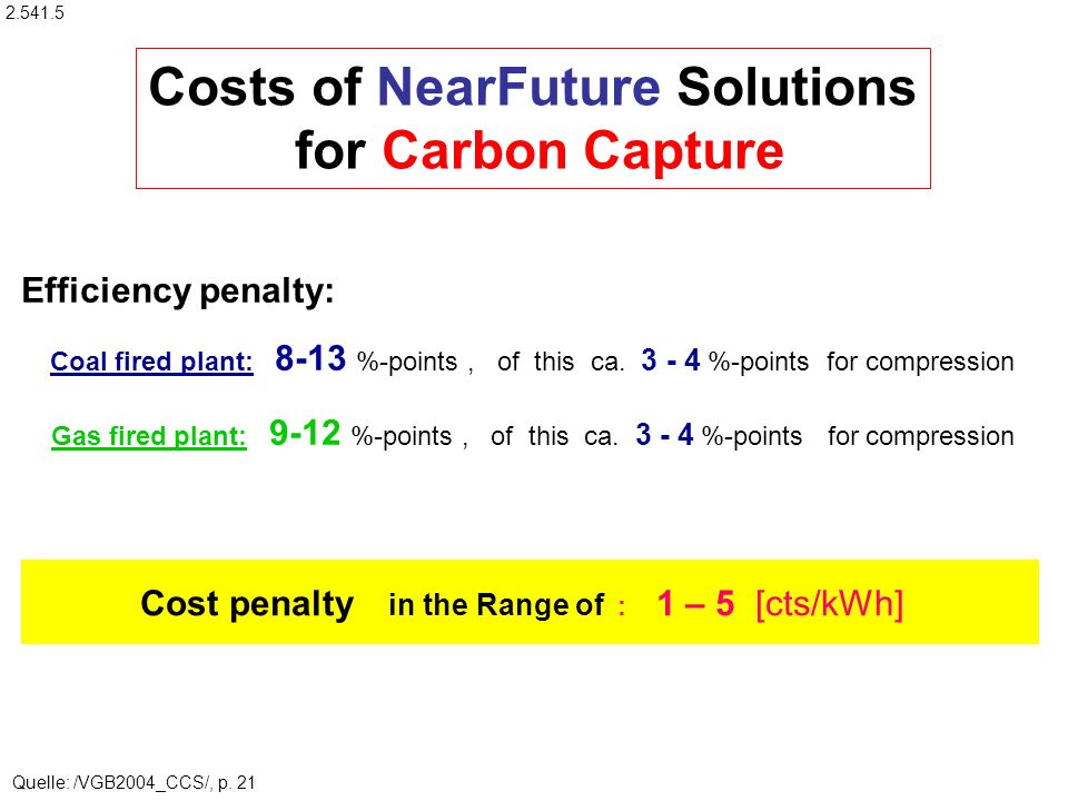 Costs of NearFuture Solutions for Carbon Capture Efficiency penalty: Coal fired plant: 8-13 %-points, of this ca.