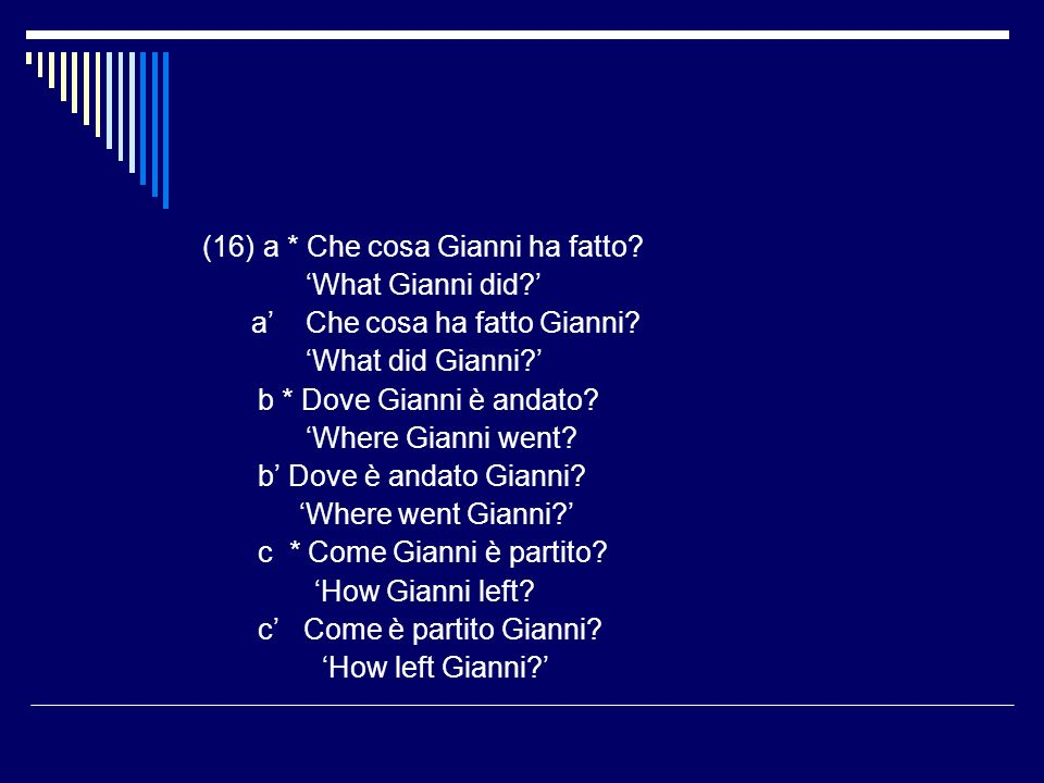 (16)a * Che cosa Gianni ha fatto. What Gianni did.