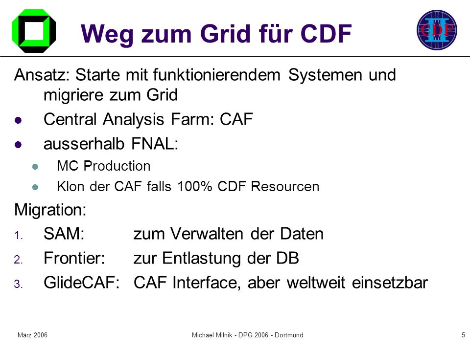 März 2006Michael Milnik - DPG Dortmund5 Weg zum Grid für CDF Ansatz: Starte mit funktionierendem Systemen und migriere zum Grid Central Analysis Farm: CAF ausserhalb FNAL: MC Production Klon der CAF falls 100% CDF Resourcen Migration: 1.