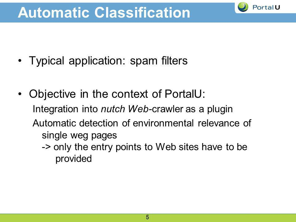 5 Automatic Classification Typical application: spam filters Objective in the context of PortalU: Integration into nutch Web-crawler as a plugin Automatic detection of environmental relevance of single weg pages -> only the entry points to Web sites have to be provided